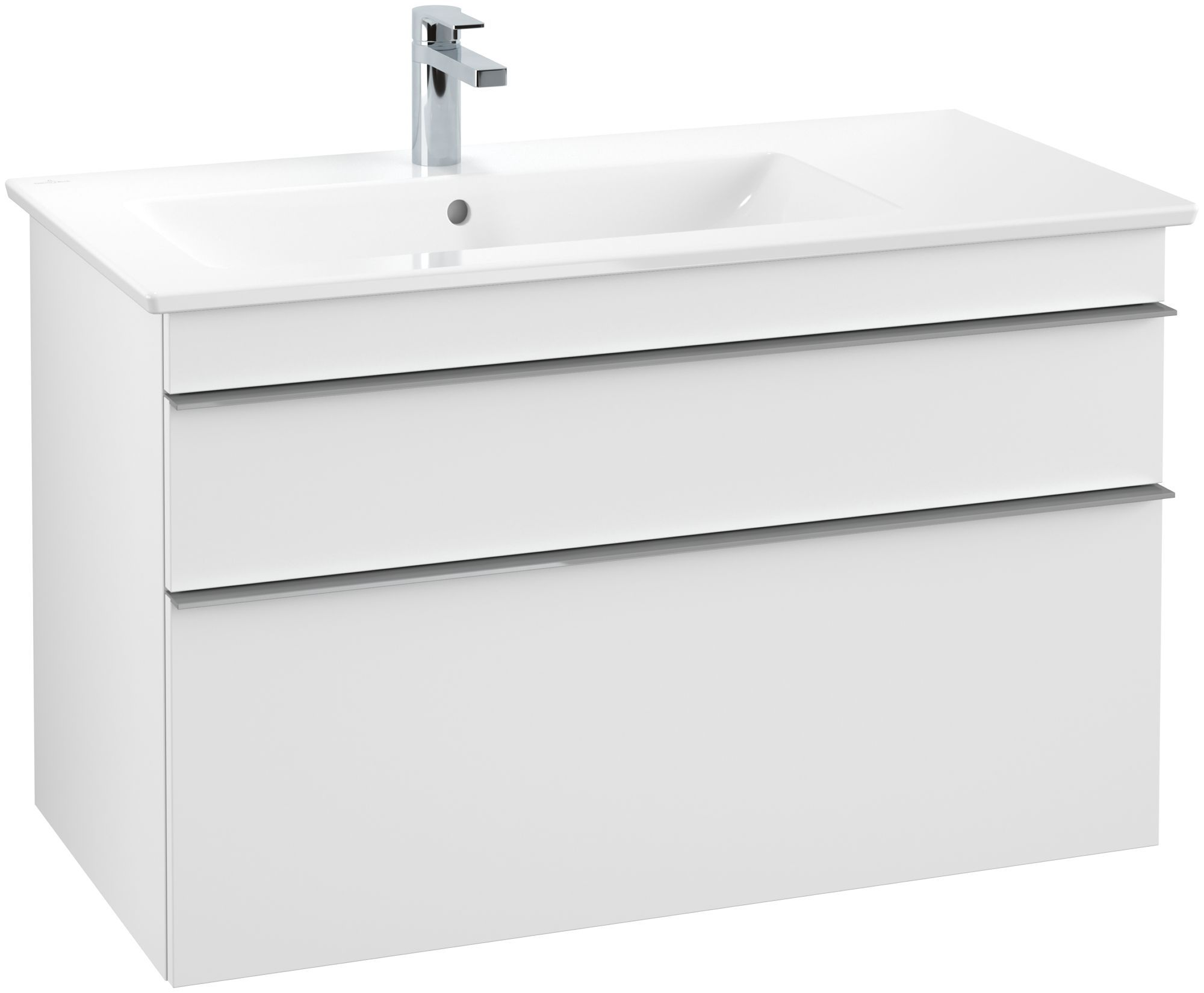 Villeroy & Boch Venticello Waschtischunterschrank 2 Auszüge B:953xT:502xH:590mm weiß matt Griffe grau A92703MS
