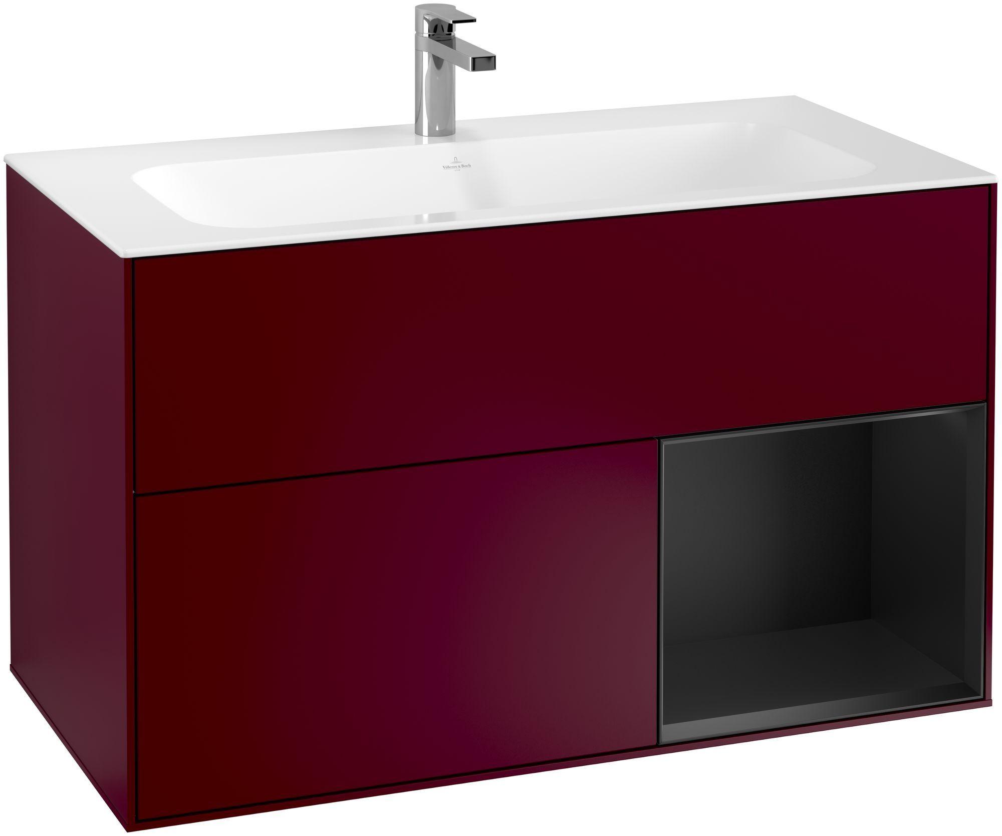 Villeroy & Boch Finion F04 Waschtischunterschrank mit Regalelement 2 Auszüge LED-Beleuchtung B:99,6xH:59,1xT:49,8cm Front, Korpus: Peony, Regal: Black Matt Lacquer F040PDHB