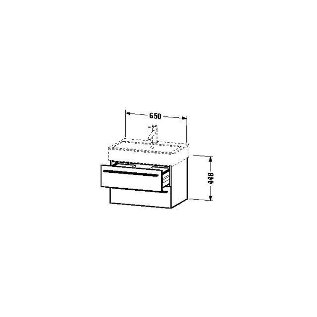 Duravit X-Large Waschtischunterschrank wandhängend B:65xH:44,8xT:44,3 cm mit 2 Schubkästen flannel grey seidenmatt XL634209090