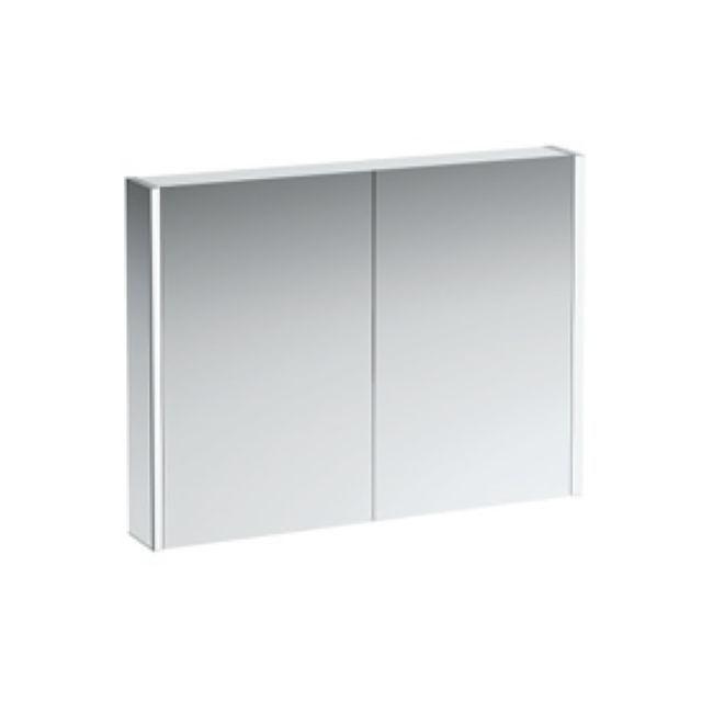 Laufen Frame 25 Spiegelschrank mit Ambiente Licht unten B:100xH:78xT:15cm Seitenteile weiß glänzend H4086539001451