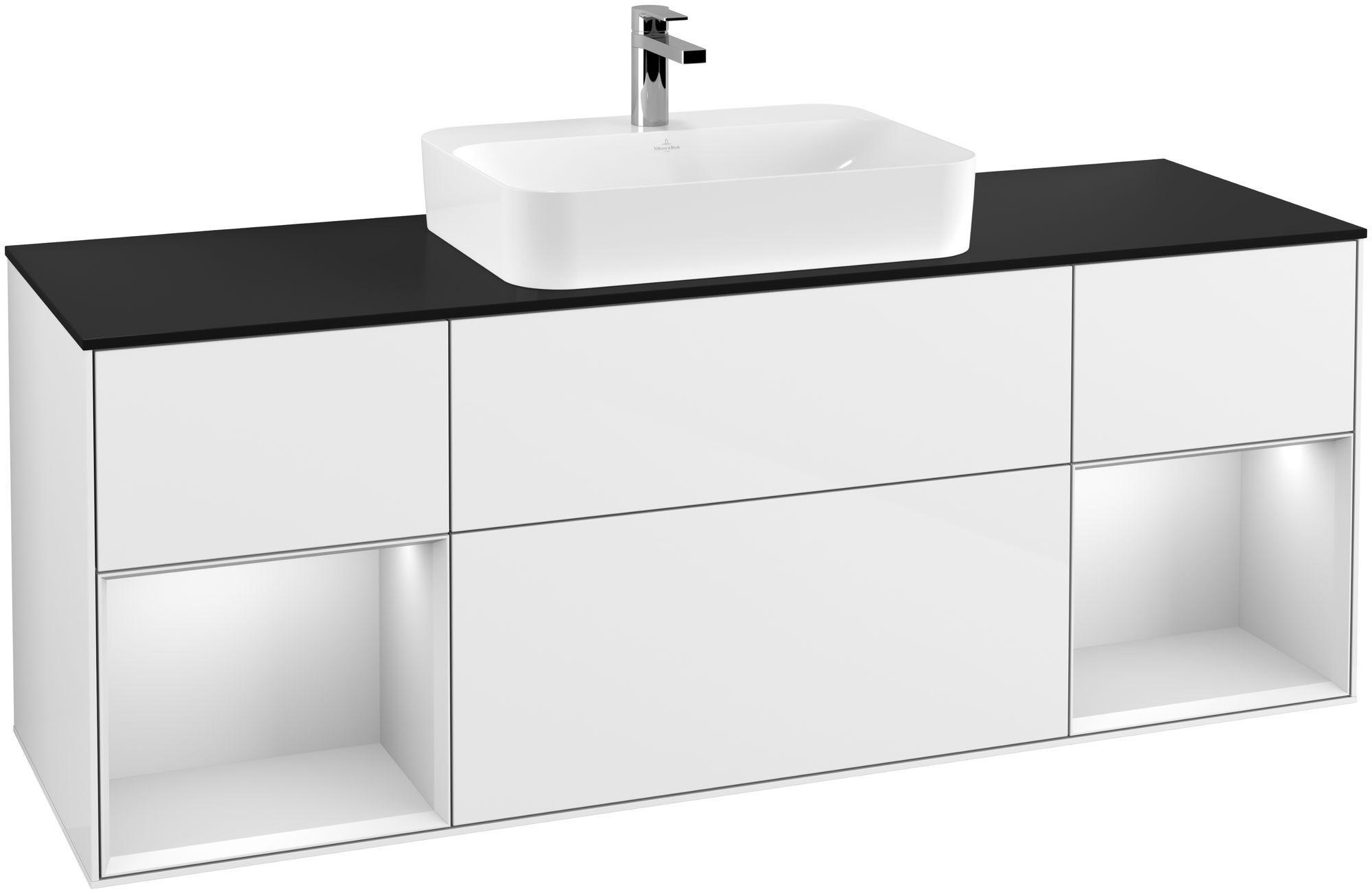 Villeroy & Boch Finion G45 Waschtischunterschrank mit Regalelement 4 Auszüge Waschtisch mittig LED-Beleuchtung B:160xH:60,3xT:50,1cm Front, Korpus: Glossy White Lack, Regal: Weiß Matt Soft Grey, Glasplatte: Black Matt G452MTGF