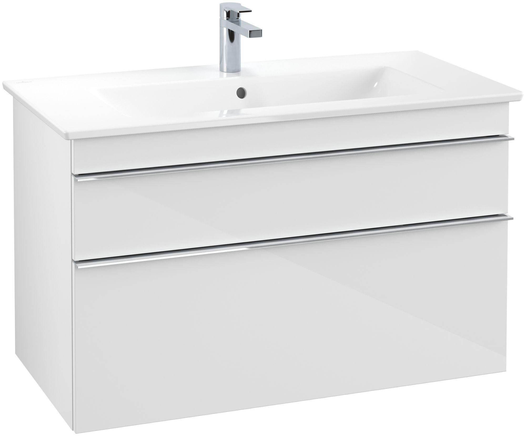 Villeroy & Boch Venticello Waschtischunterschrank 2 Auszüge B:953xT:502xH:590mm glossy weiß Griffe chrom A92601DH