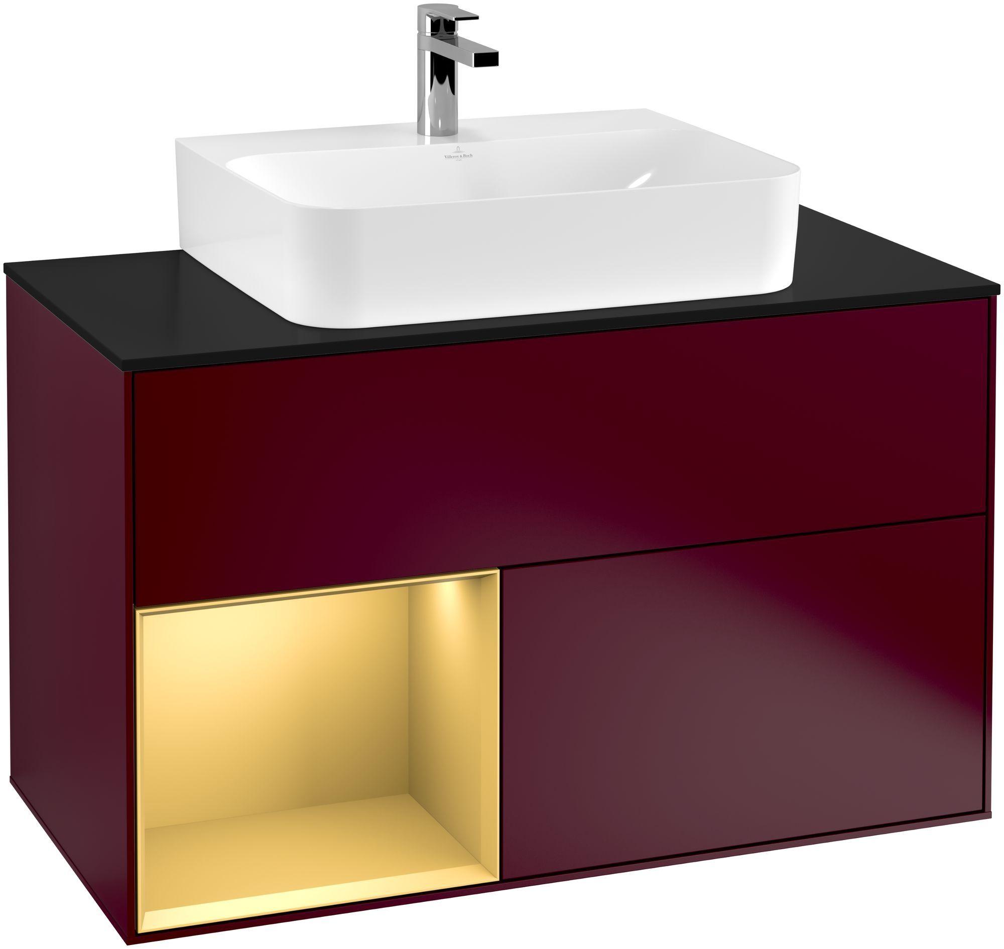 Villeroy & Boch Finion F11 Waschtischunterschrank mit Regalelement 2 Auszüge für WT mittig LED-Beleuchtung B:100xH:60,3xT:50,1cm Front, Korpus: Peony, Regal: Gold Matt, Glasplatte: Black Matt F112HFHB