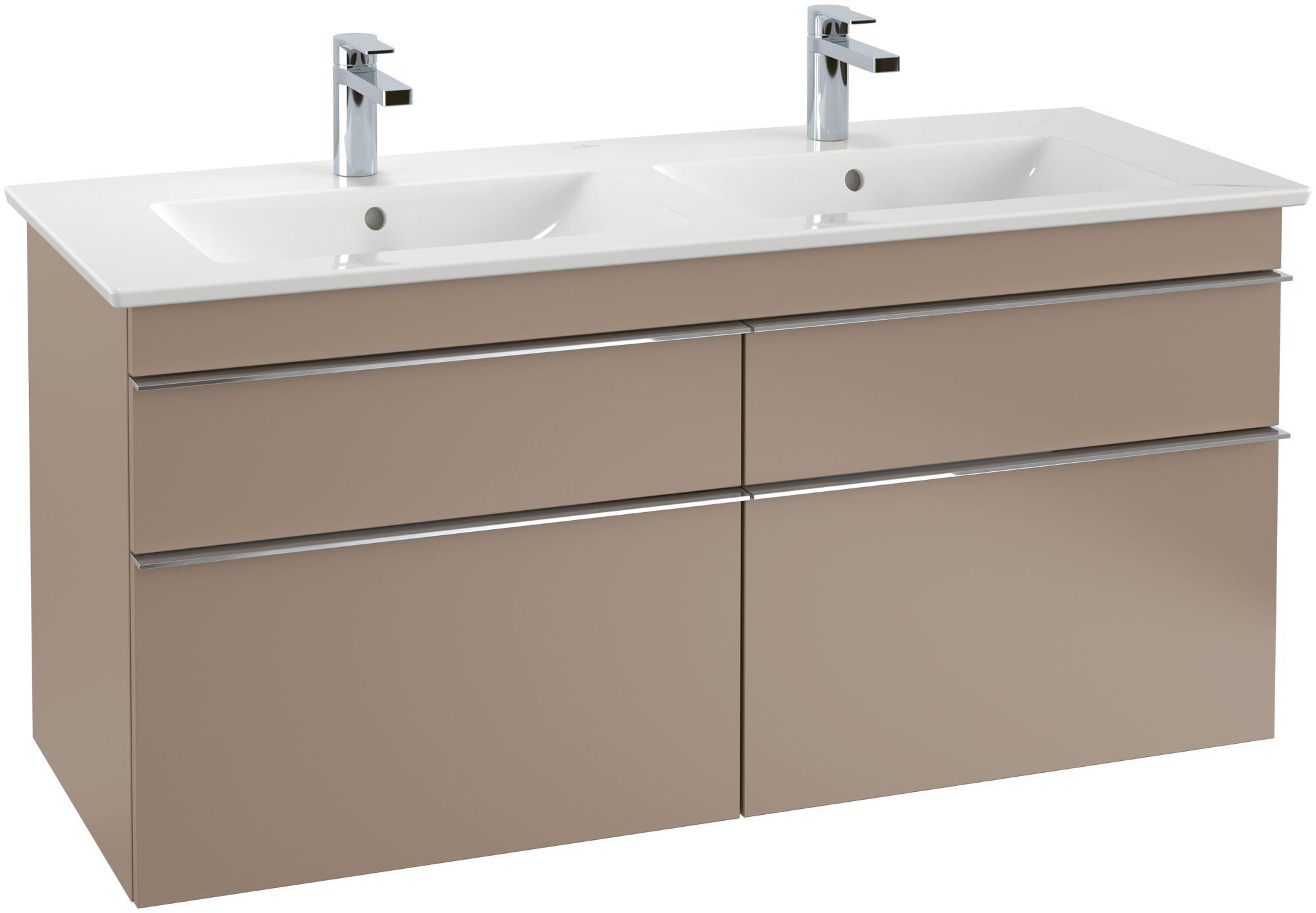 Villeroy & Boch Venticello Möbel-Doppelwaschtisch B:130xT:50cm 1 Hahnloch mit Überlauf weiß mit Ceramicplus 4111DLR1