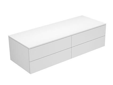 Keuco Edition 400 Sideboard wandhängend 4 Frontauszüge 1400 x 382 x 535 mm weiß/Glas petrol klar 31766780000