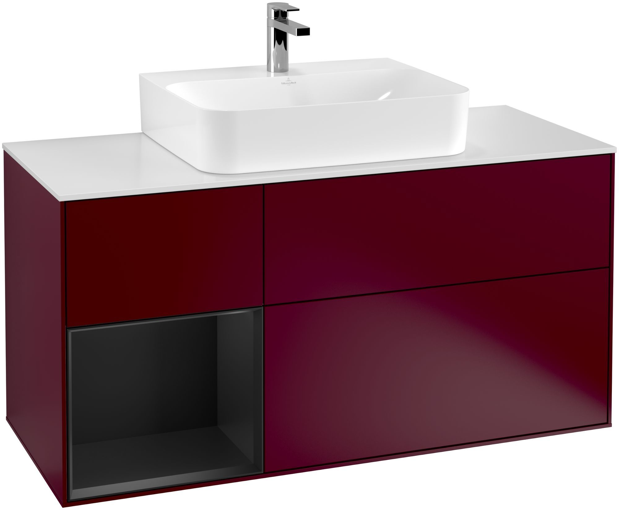 Villeroy & Boch Finion G16 Waschtischunterschrank mit Regalelement 3 Auszüge Waschtisch mittig LED-Beleuchtung B:120xH:60,3xT:50,1cm Front, Korpus: Peony, Regal: Black Matt Lacquer, Glasplatte: White Matt G161PDHB