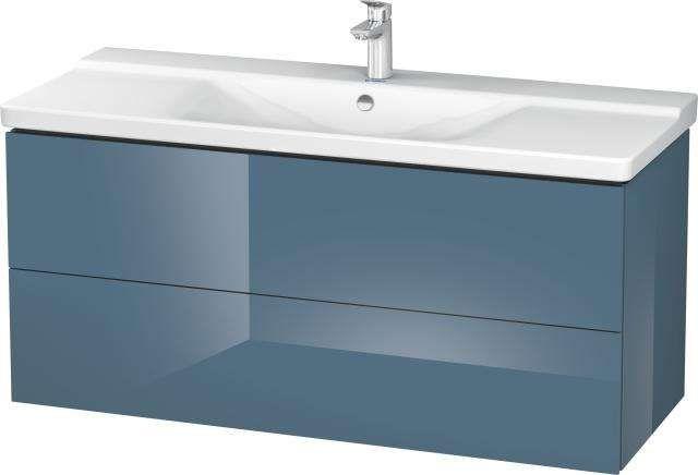 Duravit L-Cube Waschtischunterschrank wandhängend B:122xH:55,5xT:48,1 cm mit 2 Schubkästen stone blue hochglanz LC625304747