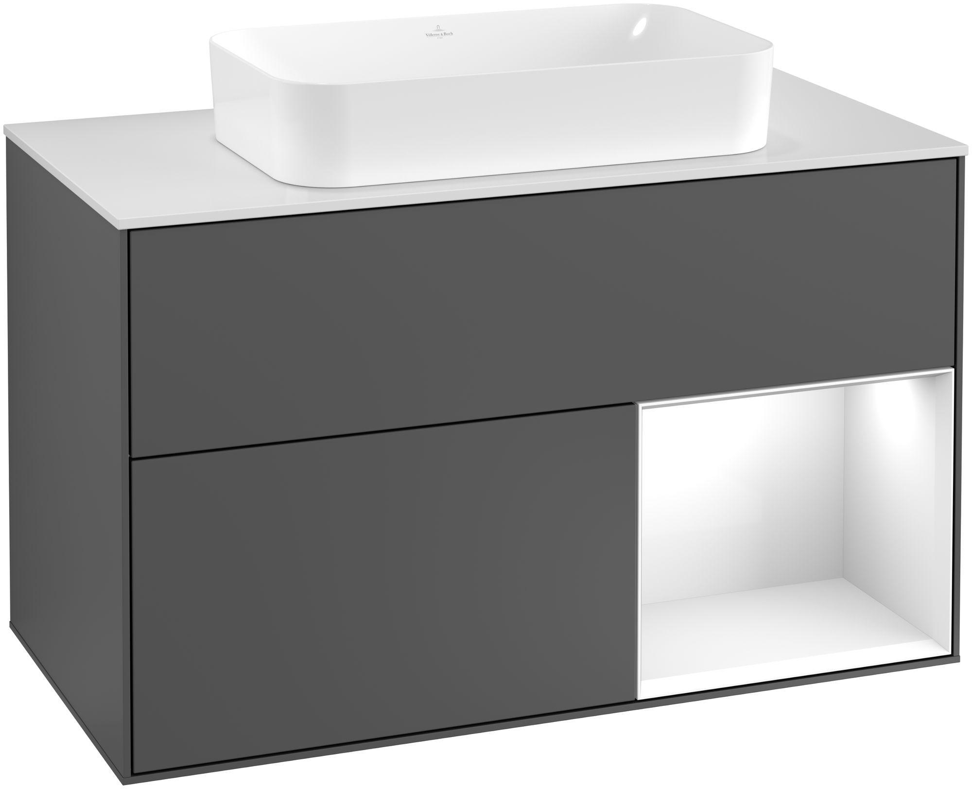 Villeroy & Boch Finion G25 Waschtischunterschrank mit Regalelement 2 Auszüge für WT mittig LED-Beleuchtung B:100xH:60,3xT:50,1cm Front, Korpus: Anthracite Matt, Regal: Glossy White Lack, Glasplatte: White Matt G251GFGK