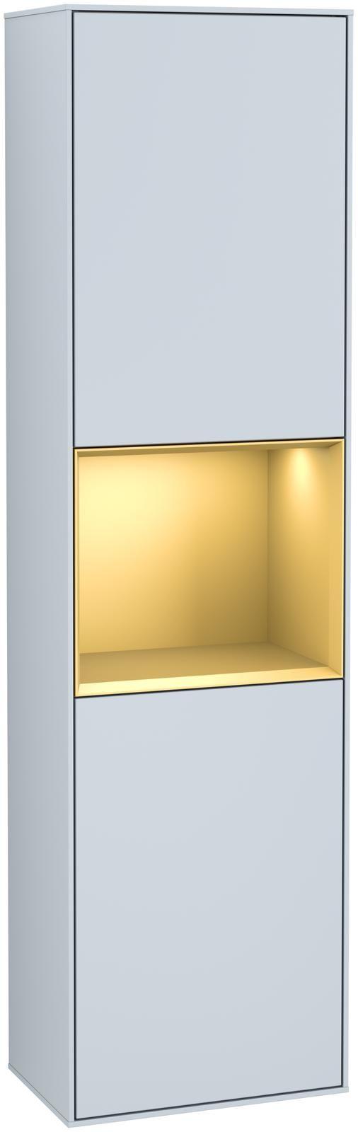 Villeroy & Boch Finion G46 Hochschrank mit Regalelement 2 Türen Anschlag links LED-Beleuchtung B:41,8xH:151,6xT:27cm Front, Korpus: Cloud, Regal: Gold Matt G460HFHA