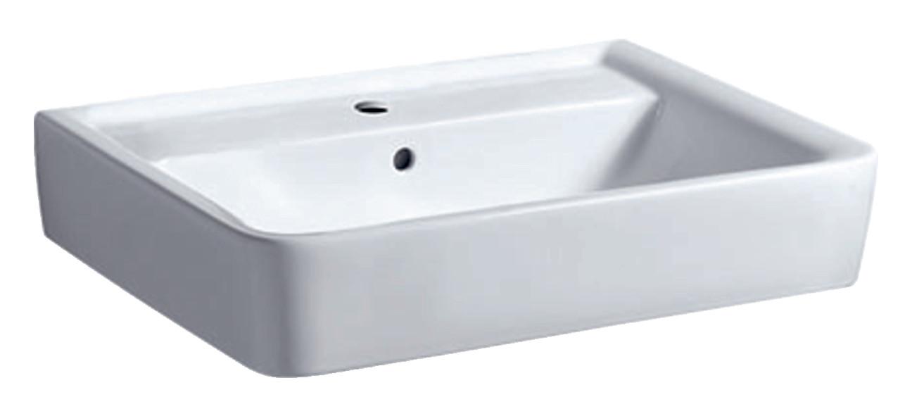 Geberit Keramag Renova Plan Waschtisch B:65xT:48cm 1 Hahnloch mit Überlauf weiß mit KeraTect 222265600