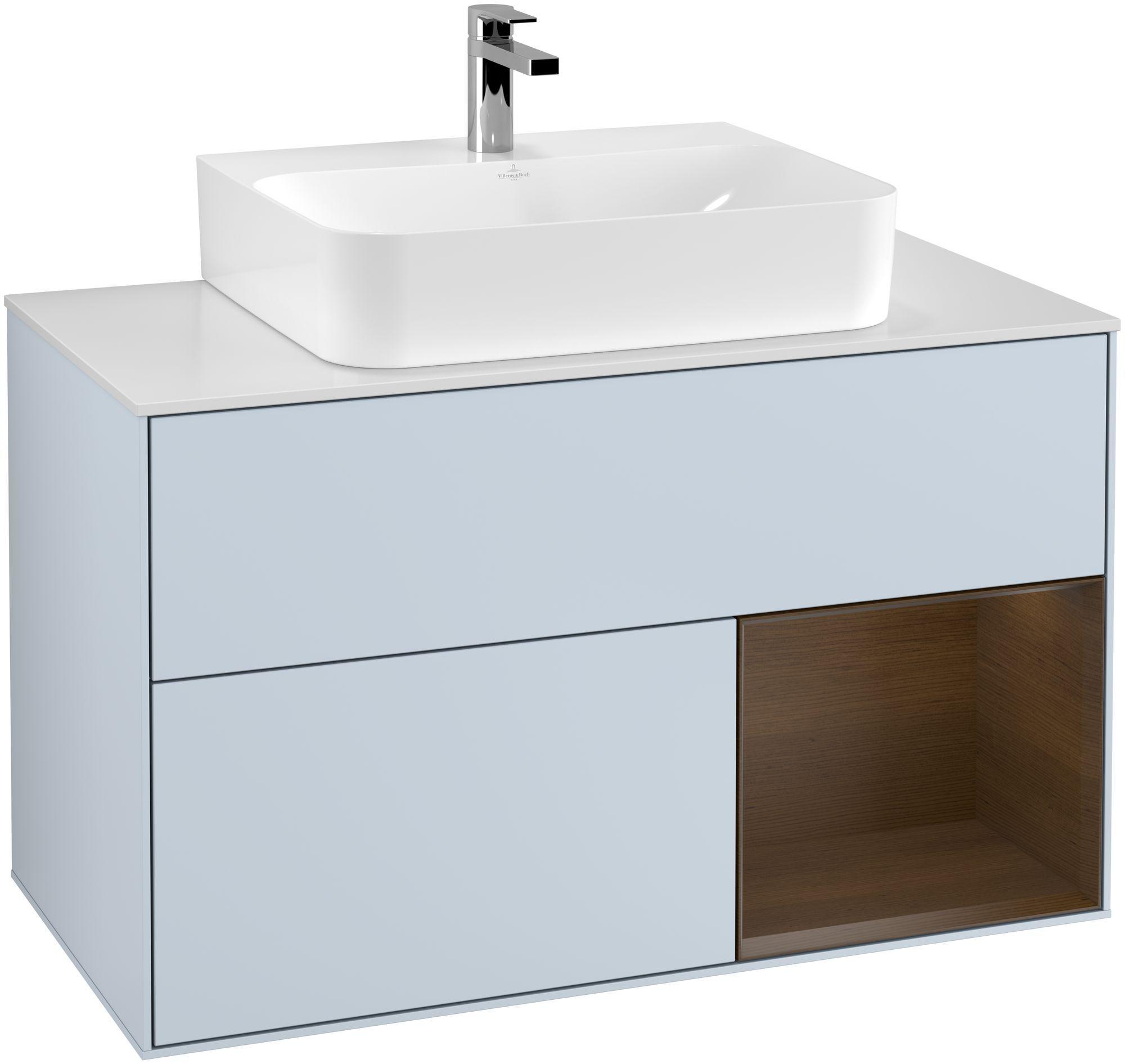 Villeroy & Boch Finion F12 Waschtischunterschrank mit Regalelement 2 Auszüge Waschtisch mittig LED-Beleuchtung B:100xH:60,3xT:50,1cm Front, Korpus: Cloud, Regal: Walnut Veneer, Glasplatte: White Matt F121GNHA