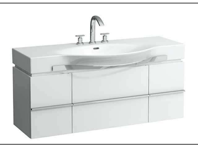 Laufen Case Waschtischunterschrank mit 2 Türen und 1 Schublade mit soft-closing Funktion B:1195xT:375xH:460mm weiß matt H4013010754631