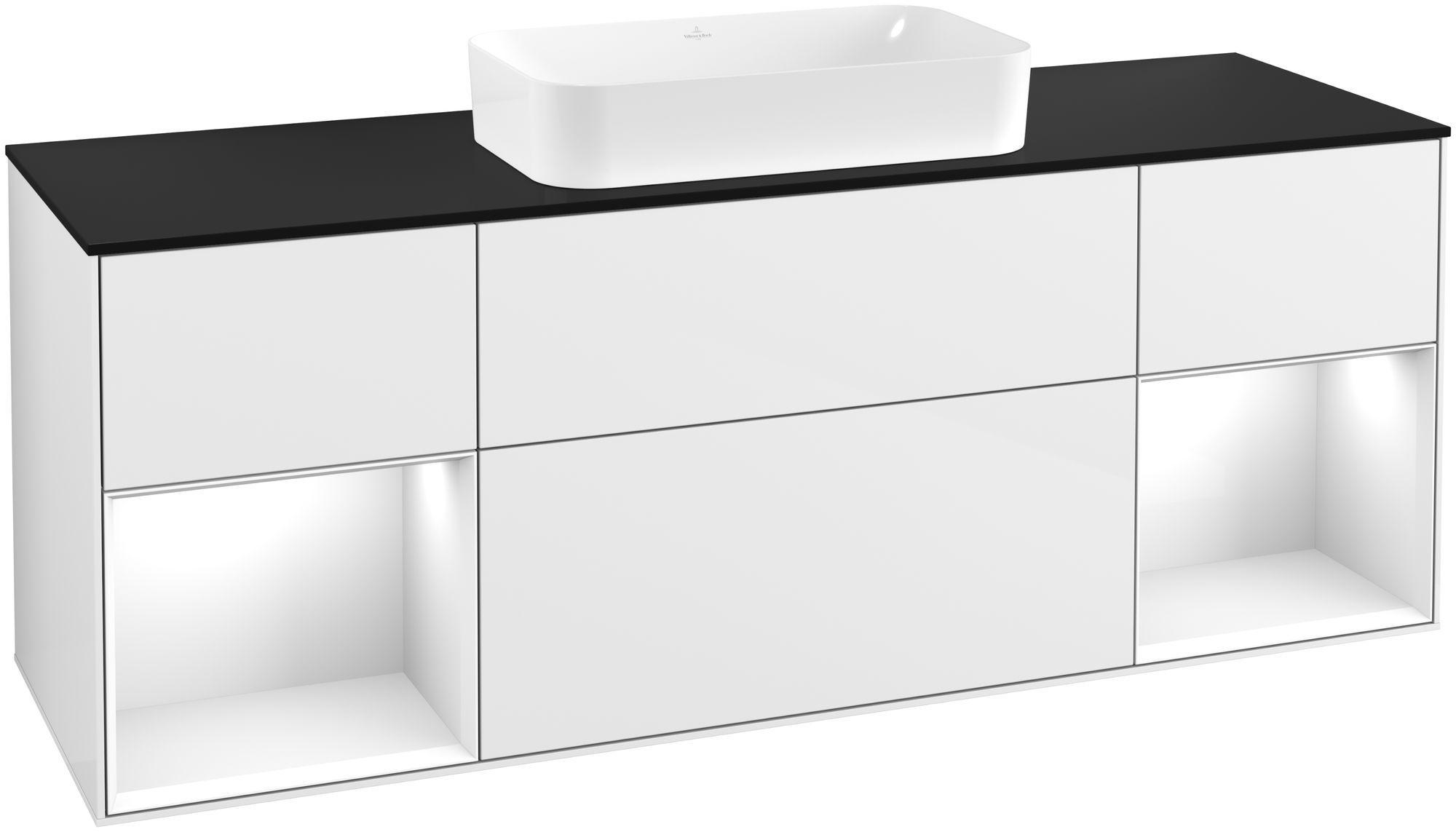 Villeroy & Boch Finion F33 Waschtischunterschrank mit Regalelement 4 Auszüge Waschtisch mittig LED-Beleuchtung B:160xH:60,3xT:50,1cm Front, Korpus: Glossy White Lack, Glasplatte: Black Matt F332GFGF