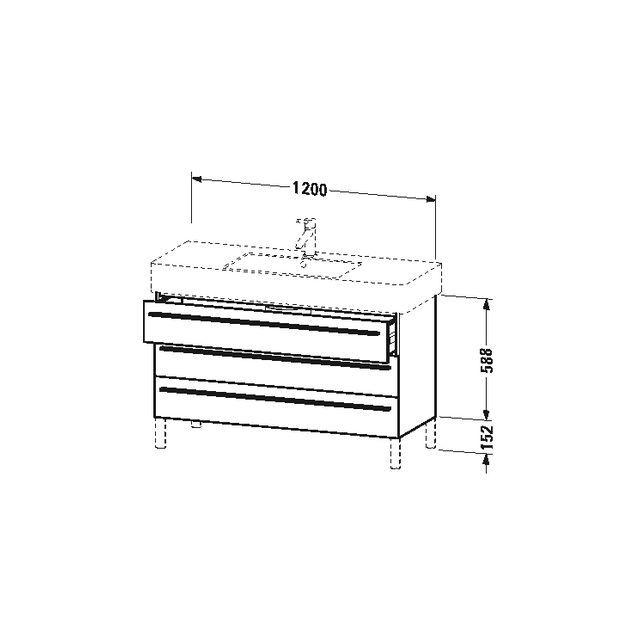 Duravit X-Large Waschtischunterschrank wandhängend B:120xH:58,8xT:47 cm mit 3 Schubkästen schwarz hochglanz XL655504040
