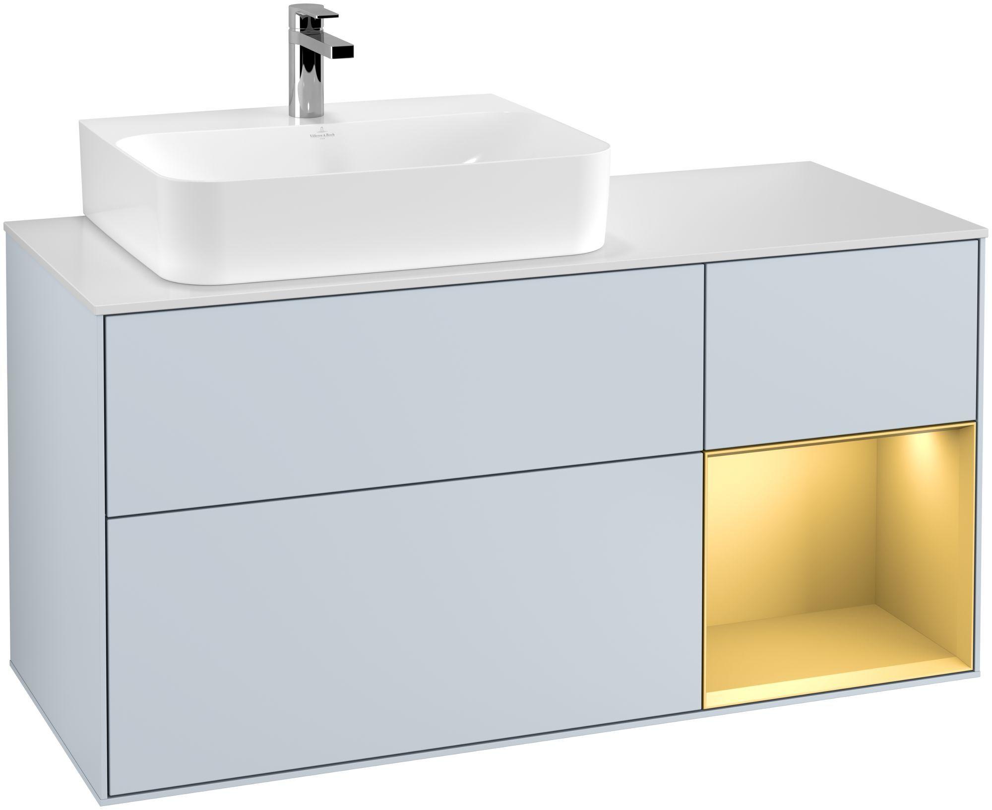 Villeroy & Boch Finion F15 Waschtischunterschrank mit Regalelement 3 Auszüge Waschtisch links LED-Beleuchtung B:120xH:60,3xT:50,1cm Front, Korpus: Cloud, Regal: Gold Matt, Glasplatte: White Matt F151HFHA