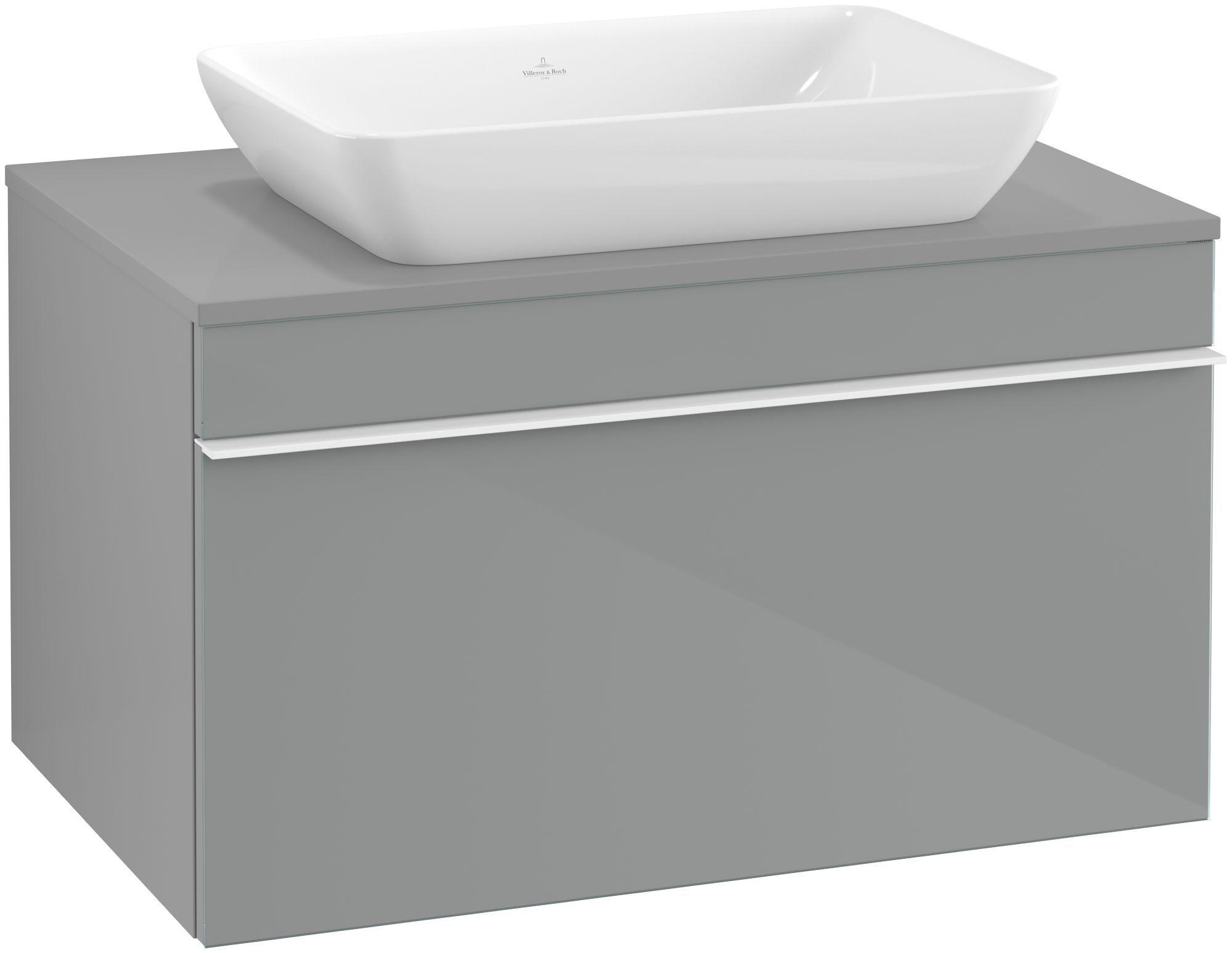 Villeroy & Boch Venticello Waschtischunterschrank für Waschtisch mittig 1 Auszug B:75,7xH:43,6xT:50,2cm Glas glossy grey Griffe white Griffe weiß A94502RA