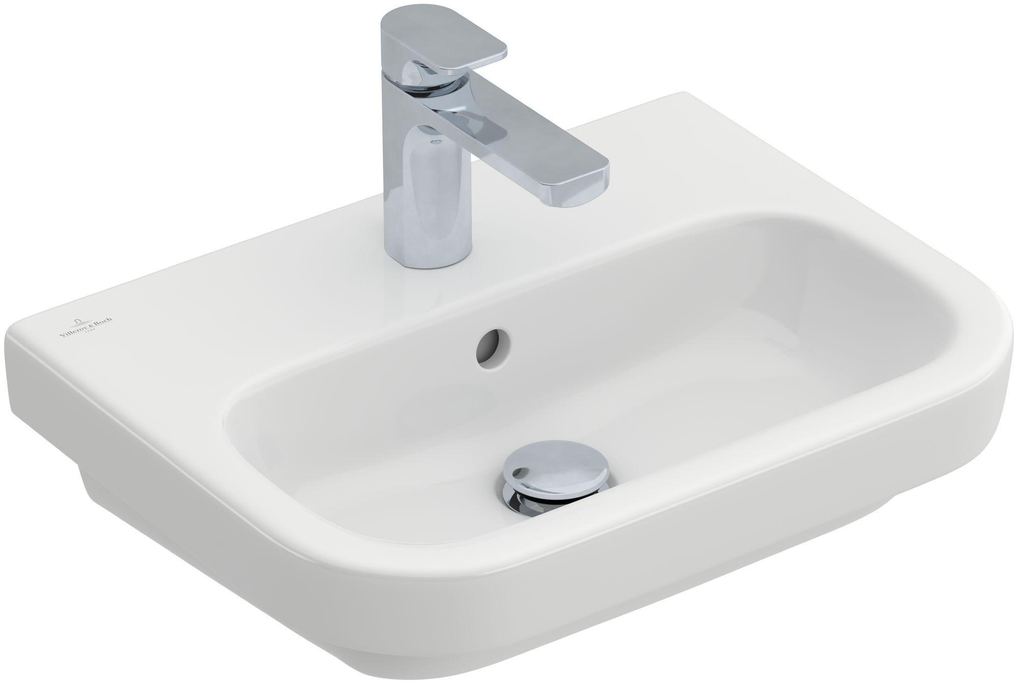 Villeroy & Boch Architectura Handwaschbecken B:50xT:38cm mit 1 Hahnloch mit Überlauf weiß mit CeramicPlus 437350R1