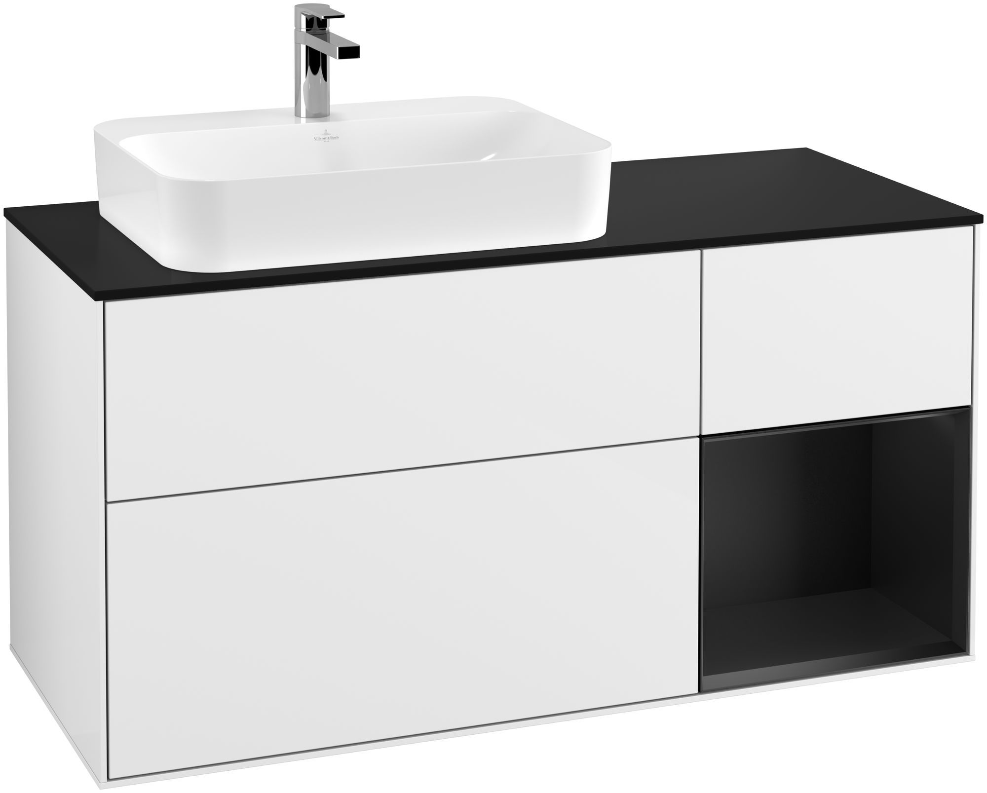 Villeroy & Boch Finion G40 Waschtischunterschrank mit Regalelement 3 Auszüge Waschtisch links LED-Beleuchtung B:120xH:60,3xT:50,1cm Front, Korpus: Glossy White Lack, Regal: Black Matt Lacquer, Glasplatte: Black Matt G402PDGF