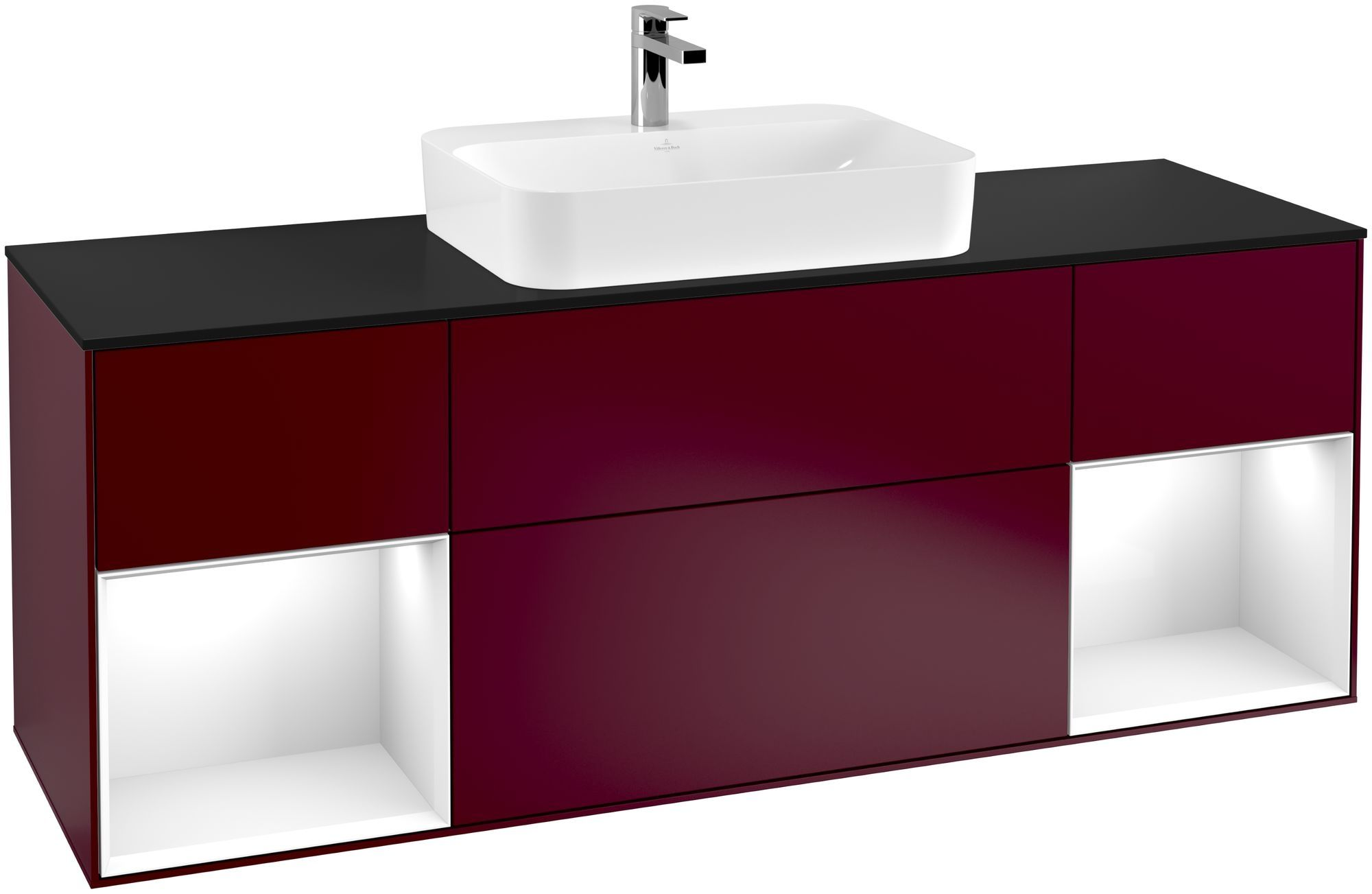 Villeroy & Boch Finion F45 Waschtischunterschrank mit Regalelement 4 Auszüge Waschtisch mittig LED-Beleuchtung B:160xH:60,3xT:50,1cm Front, Korpus: Peony, Regal: Glossy White Lack, Glasplatte: Black Matt F452GFHB