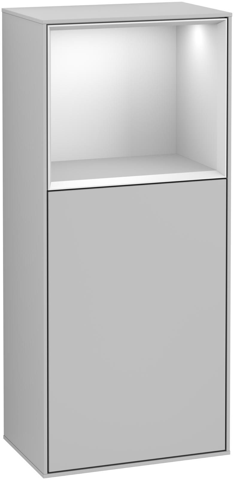 Villeroy & Boch Finion G53 Seitenschrank mit Regalelement 1 Tür Anschlag rechts LED-Beleuchtung B:41,8xH:93,6xT:27cm Front, Korpus: Light Grey Matt, Regal: Weiß Matt Soft Grey G530MTGJ
