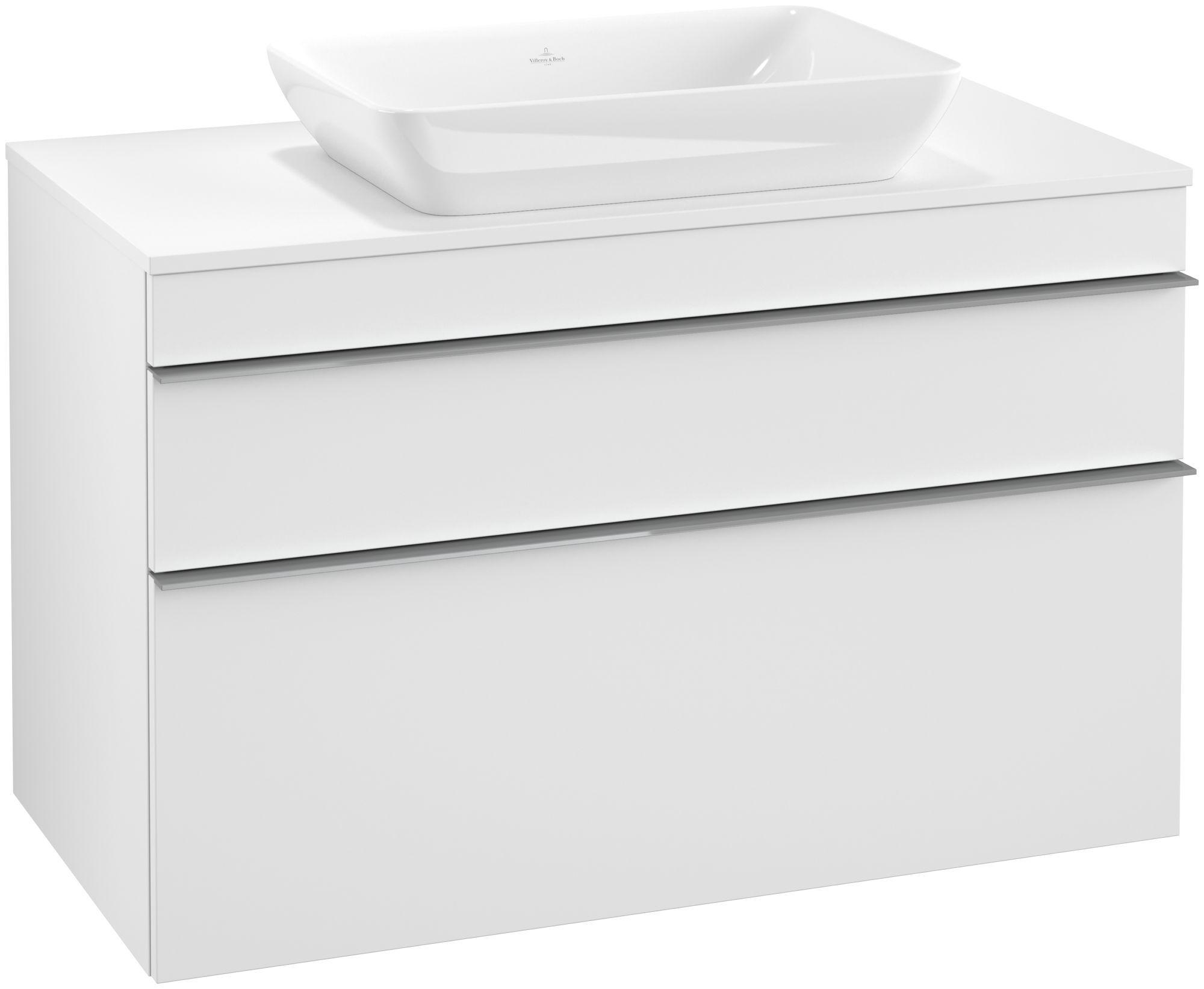 Villeroy & Boch Venticello Waschtischunterschrank 2 Auszüge B:957xT:502xH:606mm weiß matt Griffe grau A94103MS