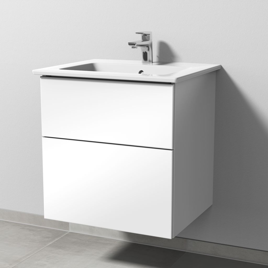 Sanipa 3way Set Keramik-Waschtisch (SF321) H:59,1xB:55,5xL:47,7cm Weiß-Glanz SF32178