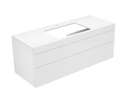 Keuco Edition 400 Waschtischunterbau mit Hahnlochbohrung 2 Auszüge 1400 x 546 x 535 mm petrol/Glas petrol satiniert 31573530100