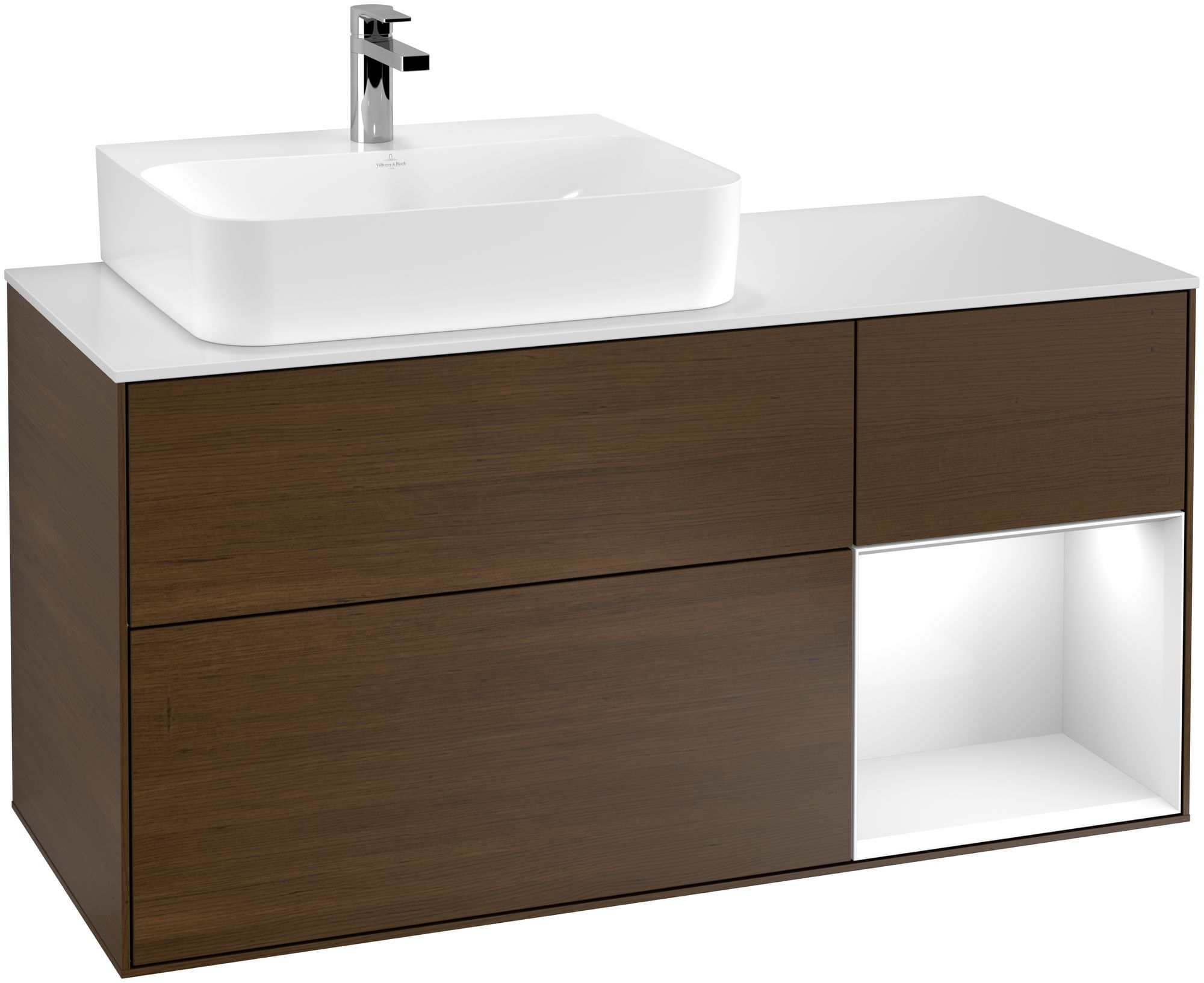 Villeroy & Boch Finion G15 Waschtischunterschrank mit Regalelement 3 Auszüge Waschtisch links LED-Beleuchtung B:120xH:60,3xT:50,1cm Front, Korpus: Walnut Veneer, Regal: Glossy White Lack, Glasplatte: White Matt G151GFGN
