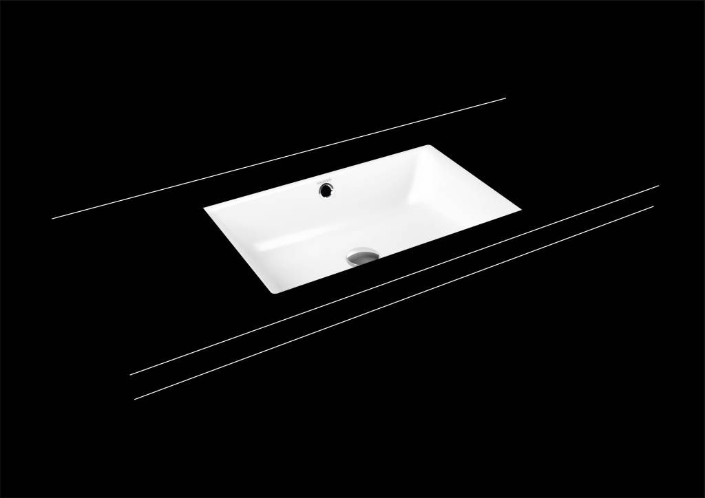 Kaldewei Puro Unterbauwaschtisch 3160 B:60xT:38,5cm mit Überlauf ohne Hahnloch weiß mit Perl-Effekt 901006003001