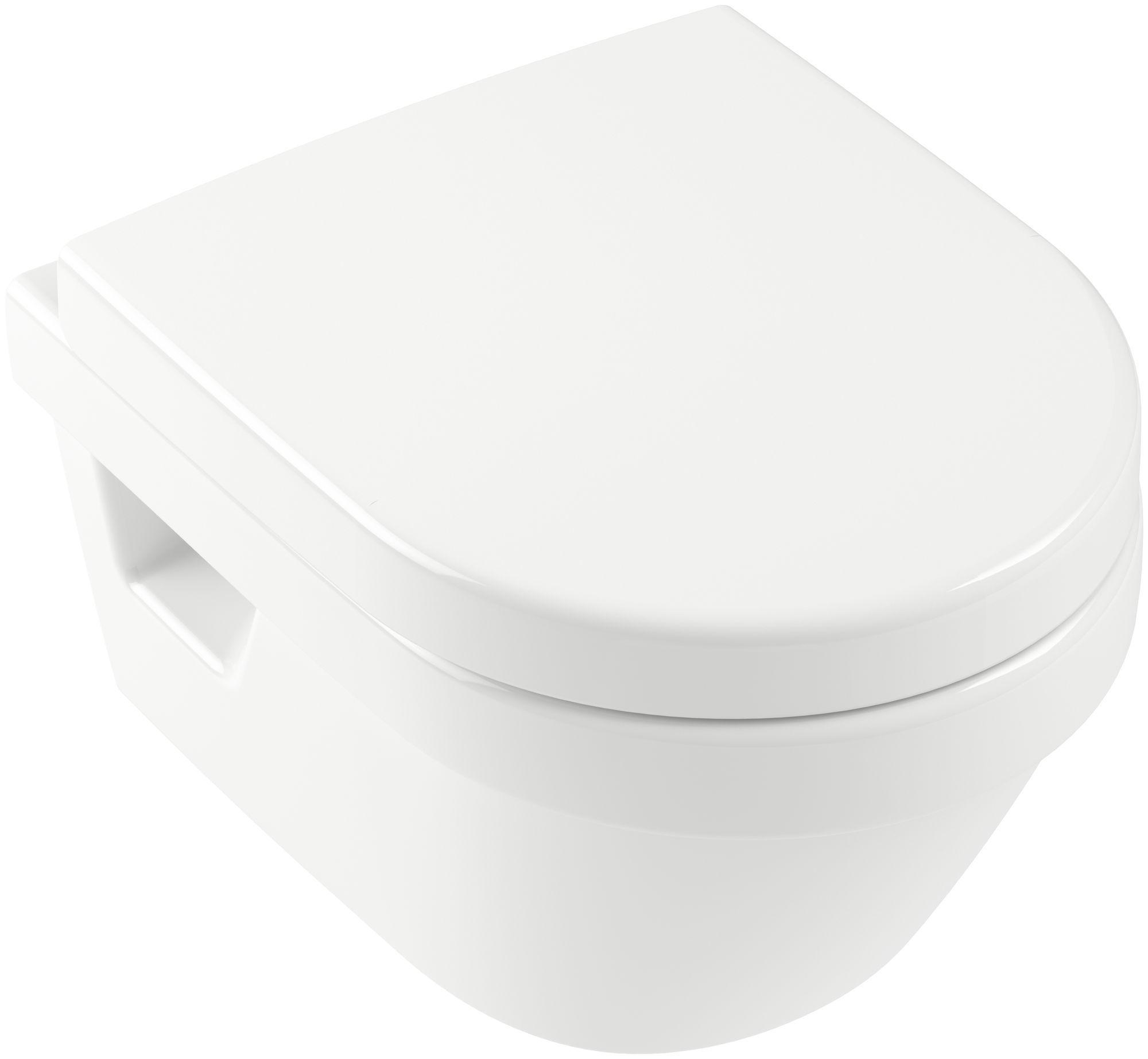 Villeroy & Boch Architectura Wand-Tiefspül-WC Combi-Pack L:48 B:35cm DirectFlush mit offenem Spülrand weiß mit CeramicPlus 4687HRR1