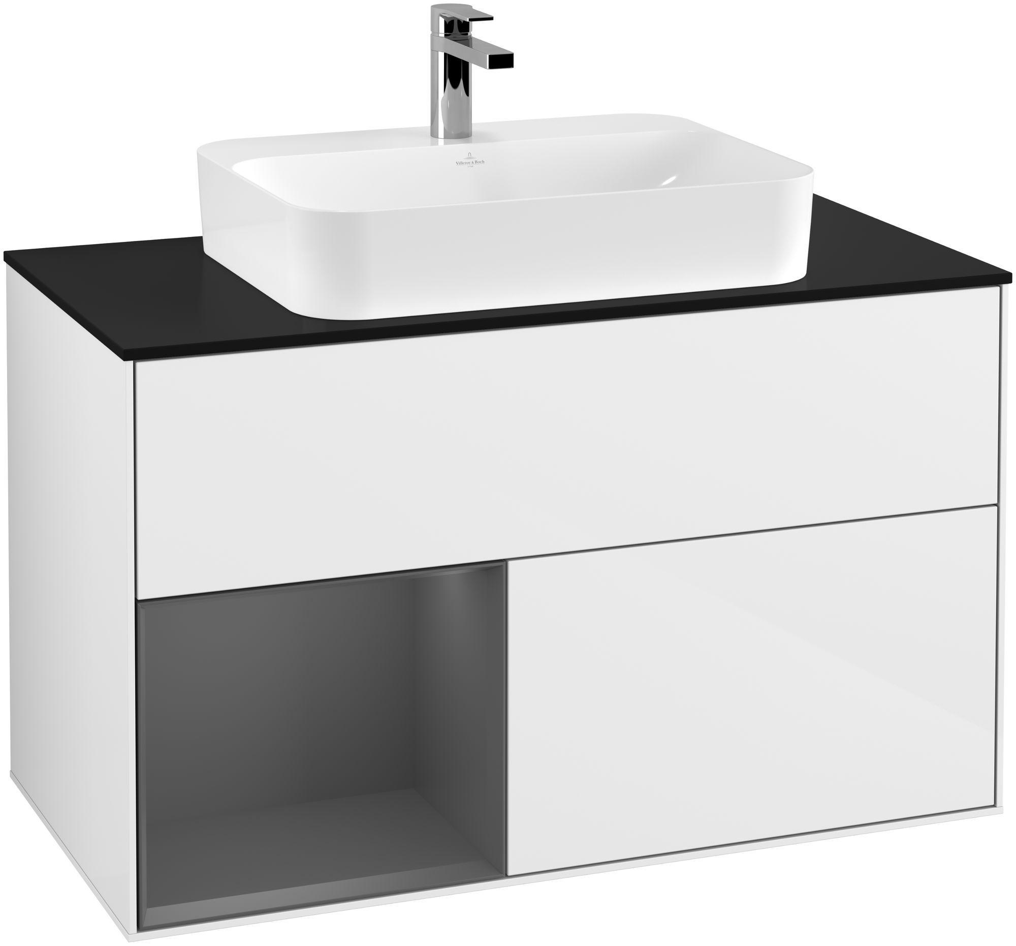 Villeroy & Boch Finion F36 Waschtischunterschrank mit Regalelement 2 Auszüge für WT mittig LED-Beleuchtung B:100xH:60,3xT:50,1cm Front, Korpus: Glossy White Lack, Regal: Anthracite Matt, Glasplatte: Black Matt F362GKGF