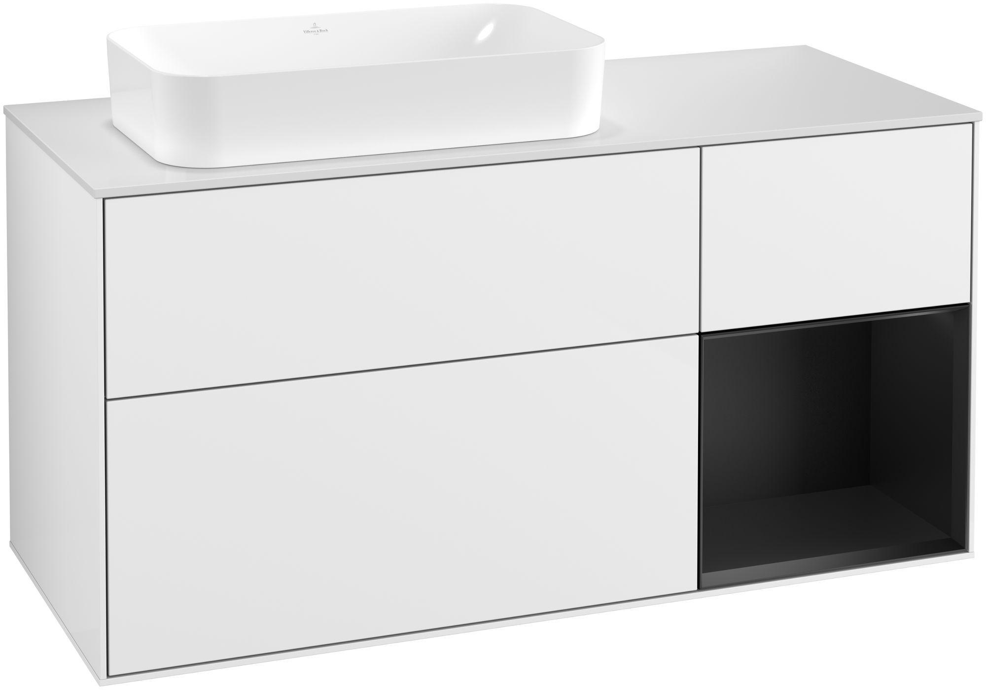 Villeroy & Boch Finion F28 Waschtischunterschrank mit Regalelement 3 Auszüge Waschtisch links LED-Beleuchtung B:120xH:60,3xT:50,1cm Front, Korpus: Glossy White Lack, Regal: Black Matt Lacquer, Glasplatte: White Matt F281PDGF