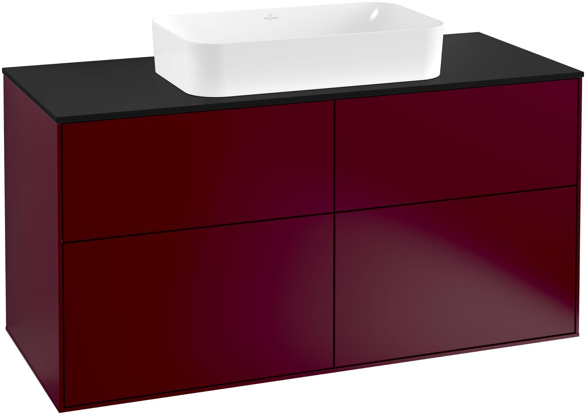Villeroy & Boch Finion G26 Waschtischunterschrank 4 Auszüge Waschtisch mittig LED-Beleuchtung B:120xH:60,3xT:50,1cm Front, Korpus: Peony, Glasplatte: Black Matt G26200HB