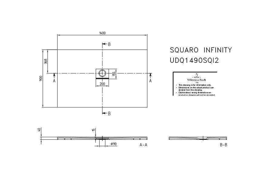 Villeroy & Boch Squaro Infinity Duschwanne L:140xB:90xH:4 cm grau matt UDQ1490SQI2V-3S