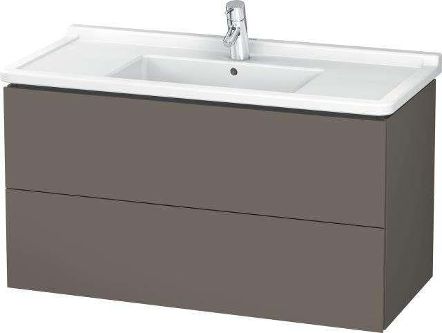 Duravit L-Cube Waschtischunterschrank wandhängend B:102xH:55,8xT:46,9 cm mit 2 Schubkästen flannel grey seidenmatt LC626609090