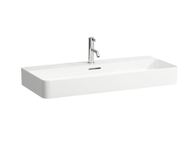 Laufen Aufsatz-Waschtisch Val 420x950 2 Hahnlöcher mit Überlauf geschliffen LCC weiss H8162874001071