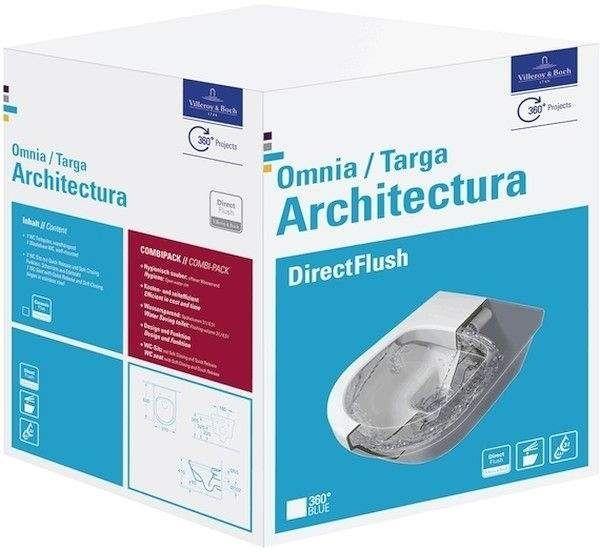 Villeroy & Boch Architectura Combi-Pack mit Tiefspül-Wand-WC ohne Spülrand L:53xB:37cm mit WC-Sitz weiß ceramicplus 5684HRR1