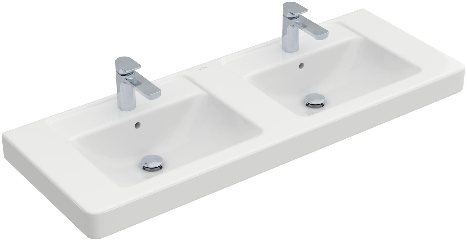 Villeroy & Boch Architectura Doppelwaschtisch B:130xT:48,5cm 1 Hahnloch mit Überlauf weiß mit Ceramicplus 613113R1