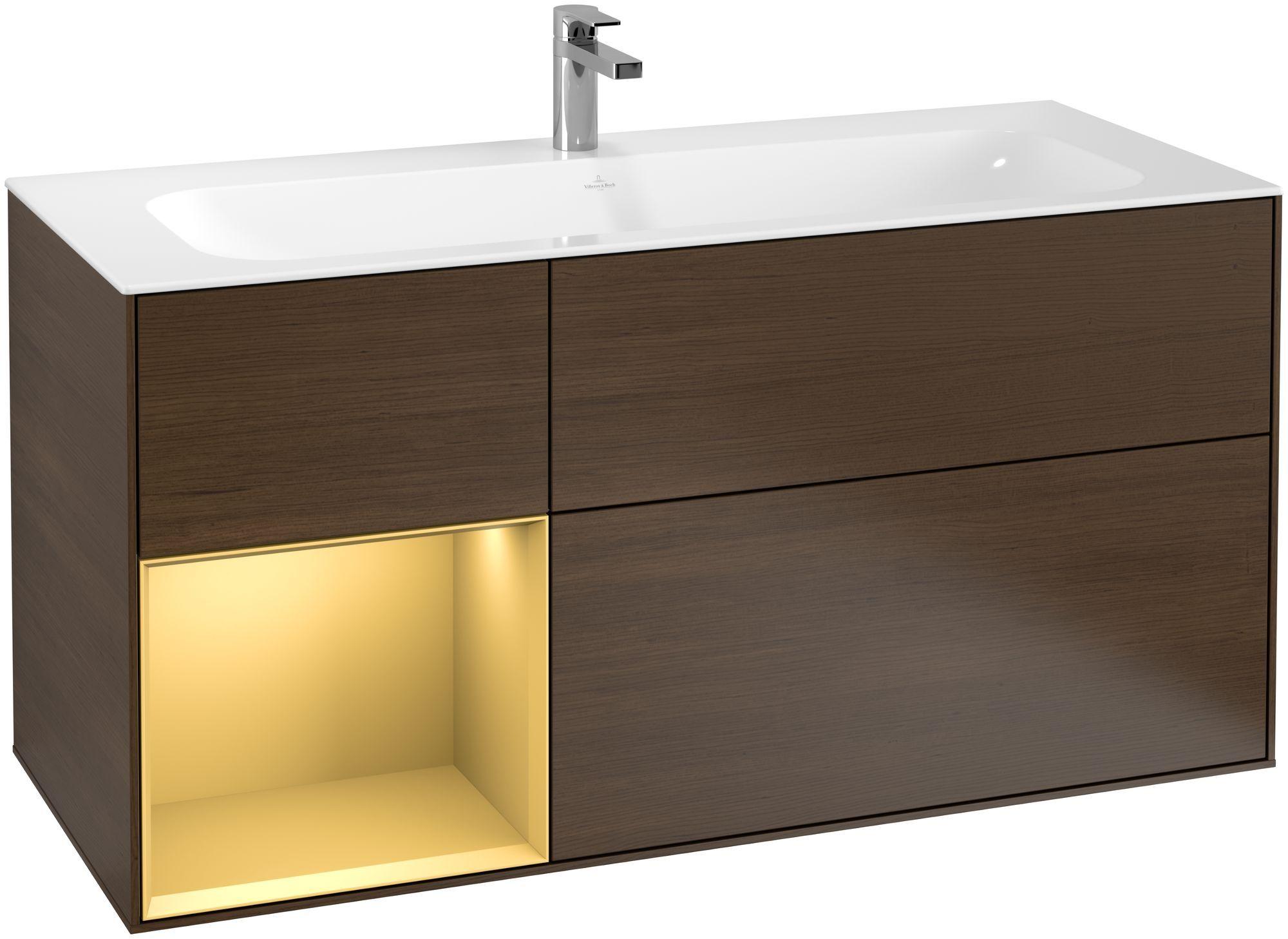Villeroy & Boch Finion F06 Waschtischunterschrank mit Regalelement 3 Auszüge LED-Beleuchtung B:119,6xH:59,1xT:49,8cm Front, Korpus: Walnut Veneer, Regal: Gold Matt F060HFGN