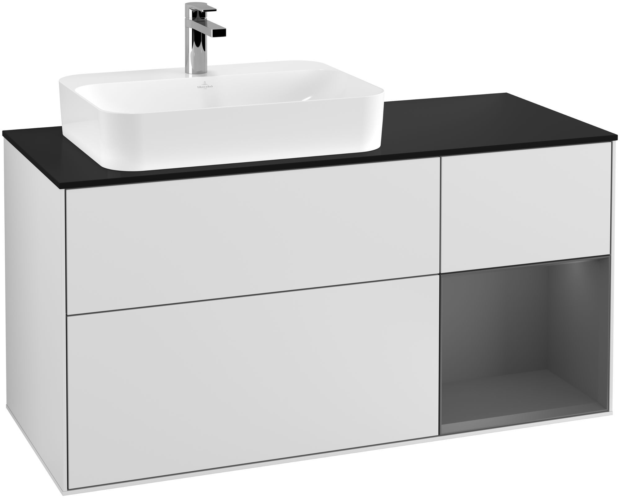 Villeroy & Boch Finion G40 Waschtischunterschrank mit Regalelement 3 Auszüge Waschtisch links LED-Beleuchtung B:120xH:60,3xT:50,1cm Front, Korpus: Weiß Matt Soft Grey, Regal: Anthracite Matt, Glasplatte: Black Matt G402GKMT