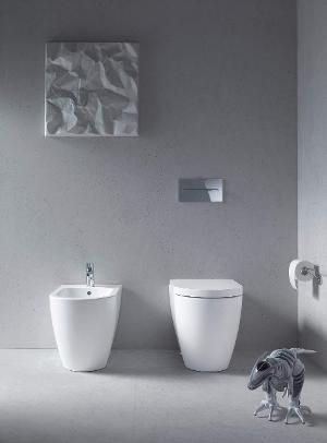 Duravit ME by Starck  Tiefspül-Wand-WC L:57xB37cm spülrandlos Set mit WC-Sitz mit Absenkautomatik weiß 45290900A1