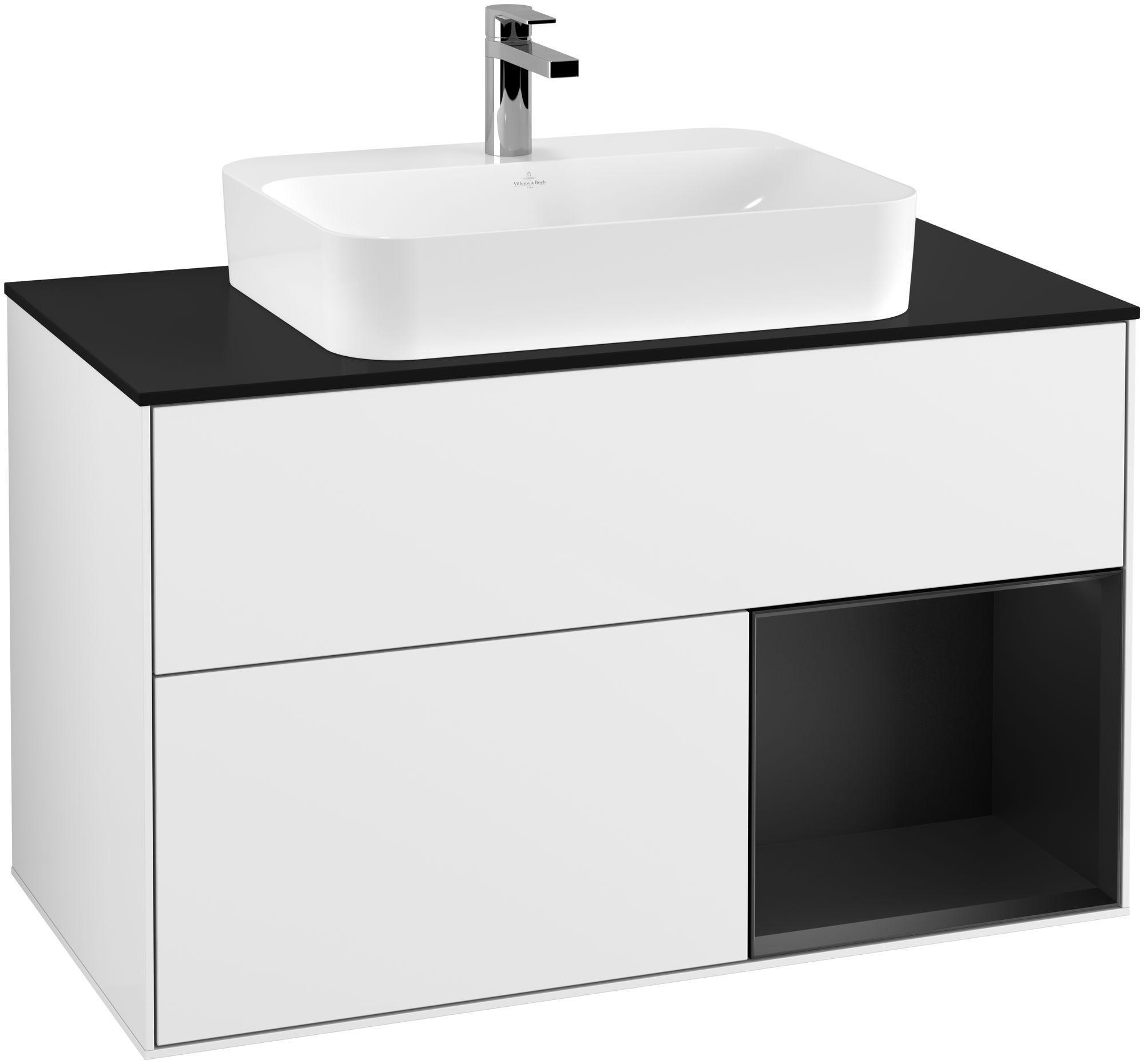 Villeroy & Boch Finion F37 Waschtischunterschrank mit Regalelement 2 Auszüge für WT mittig LED-Beleuchtung B:100xH:60,3xT:50,1cm Front, Korpus: Glossy White Lack, Regal: Black Matt Lacquer, Glasplatte: Black Matt F372PDGF