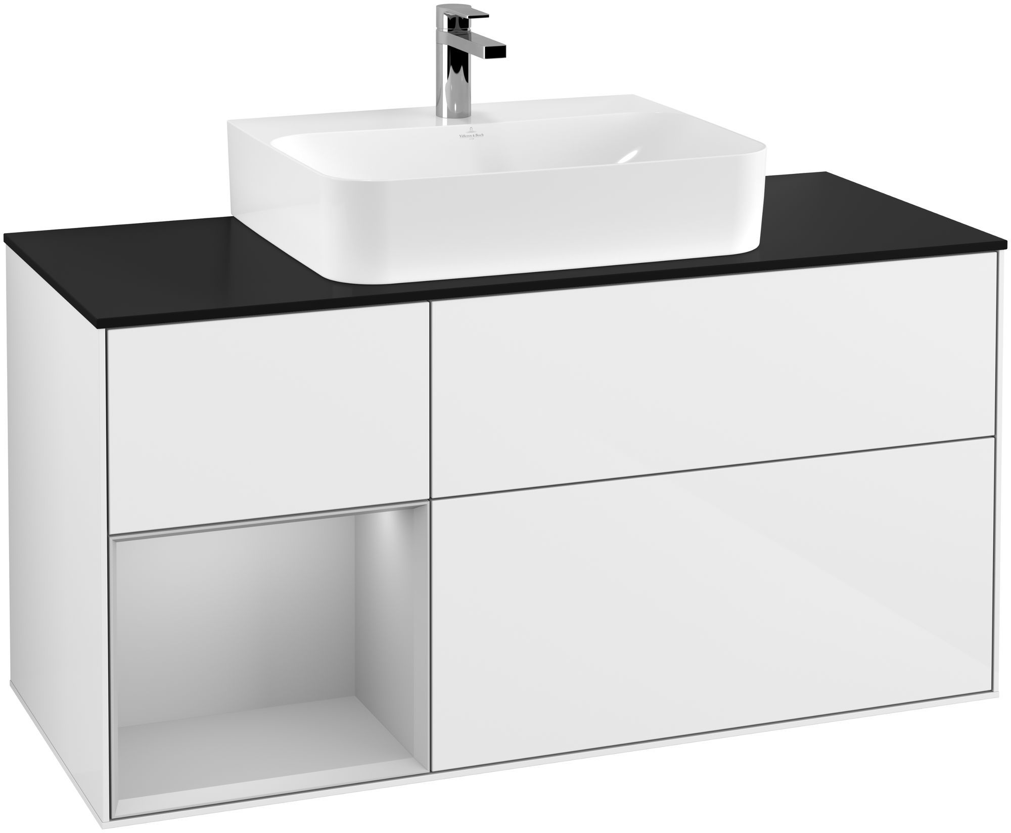 Villeroy & Boch Finion G16 Waschtischunterschrank mit Regalelement 3 Auszüge für WT mittig LED-Beleuchtung B:120xH:60,3xT:50,1cm Front, Korpus: Glossy White Lack, Regal: Light Grey Matt, Glasplatte: Black Matt G162GJGF