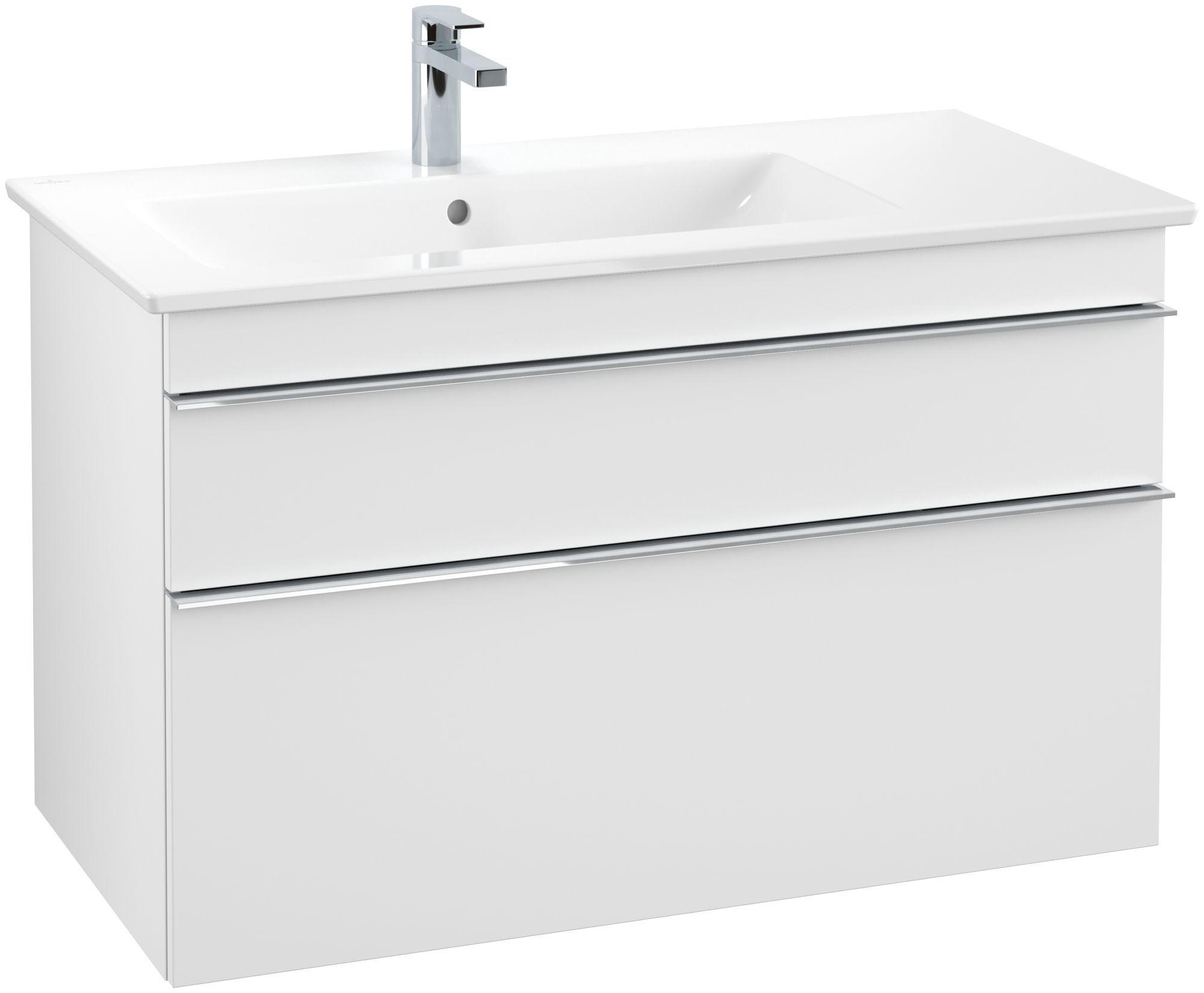 Villeroy & Boch Venticello Waschtischunterschrank 2 Auszüge B:953xT:502xH:590mm weiß matt Griffe chrom A92701MS