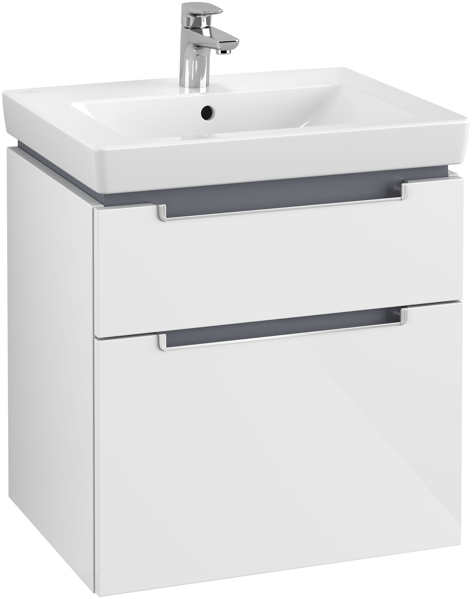 Villeroy & Boch Subway 2.0 Waschtischunterschrank 2 Auszüge B:587xT:454xH:590mm glossy weiß Griffe silberfarbig matt A90900DH