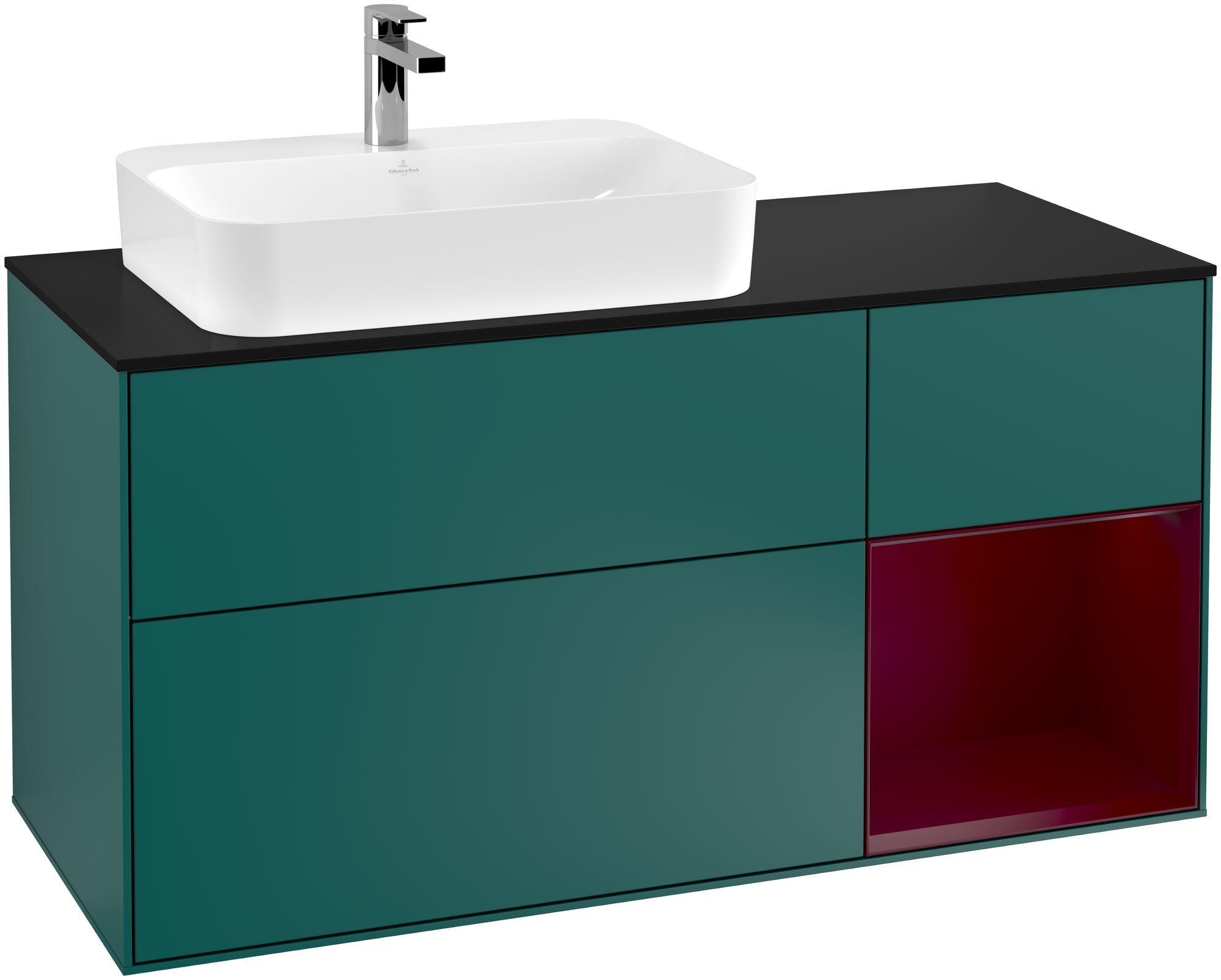 Villeroy & Boch Finion G40 Waschtischunterschrank mit Regalelement 3 Auszüge Waschtisch links LED-Beleuchtung B:120xH:60,3xT:50,1cm Front, Korpus: Cedar, Regal: Peony, Glasplatte: Black Matt G402HBGS