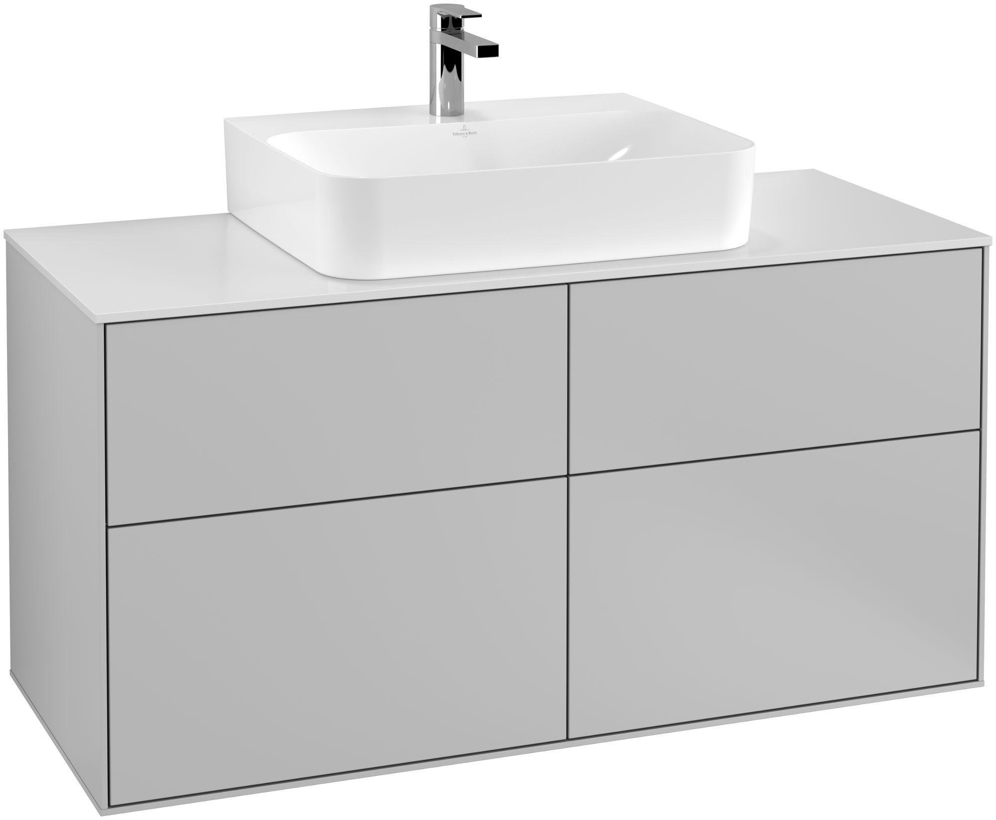 Villeroy & Boch Finion F13 Waschtischunterschrank 4 Auszüge Waschtisch mittig B:120xH:60,3xT:50,1cm Front, Korpus: Light Grey Matt, Glasplatte: White Matt F13100GJ