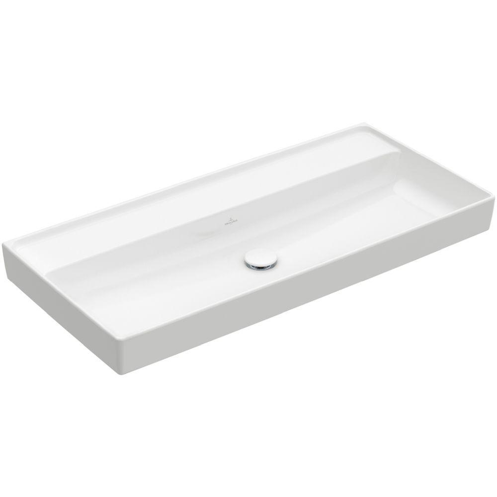 Villeroy & Boch Schrankwaschtisch Collaro, 1000 x 470 mm, Rechteck, ohne Überlauf, ungeschliffen, Weiß Alpin CeramicPlus 4A33A3R1