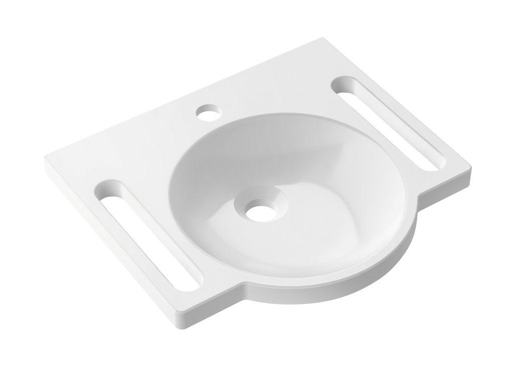 Hewi Waschtisch B:45xT:40cm mit integrierter Haltemöglichkeit ohne Überlauf 1 Hahnloch weiß 950.11.501