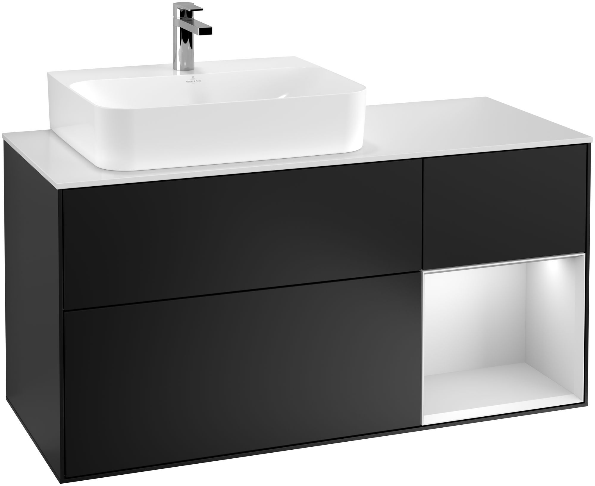 Villeroy & Boch Finion F15 Waschtischunterschrank mit Regalelement 3 Auszüge Waschtisch links LED-Beleuchtung B:120xH:60,3xT:50,1cm Front, Korpus: Black Matt Lacquer, Regal: Weiß Matt Soft Grey, Glasplatte: White Matt F151MTPD